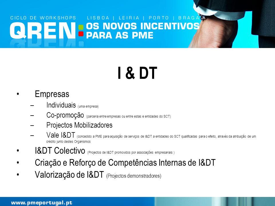 I & DT Empresas –Individuais (uma empresa) –Co-promoção (parceria entre empresas ou entre estas e entidades do SCT) –Projectos Mobilizadores –Vale I&D