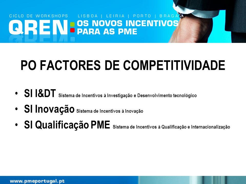 PO FACTORES DE COMPETITIVIDADE SI I&DT Sistema de Incentivos à Investigação e Desenvolvimento tecnológico SI Inovação Sistema de Incentivos à Inovação