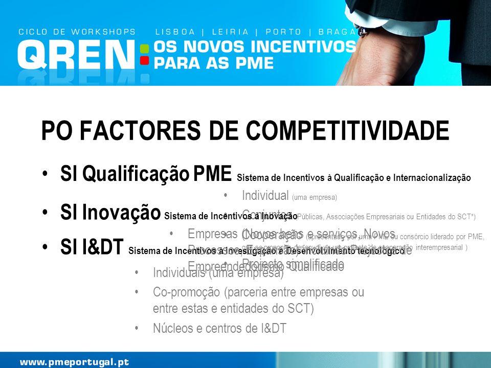 PO FACTORES DE COMPETITIVIDADE SI I&DT Sistema de Incentivos à Investigação e Desenvolvimento tecnológico Individual (uma empresa) Conjuntos (Públicas