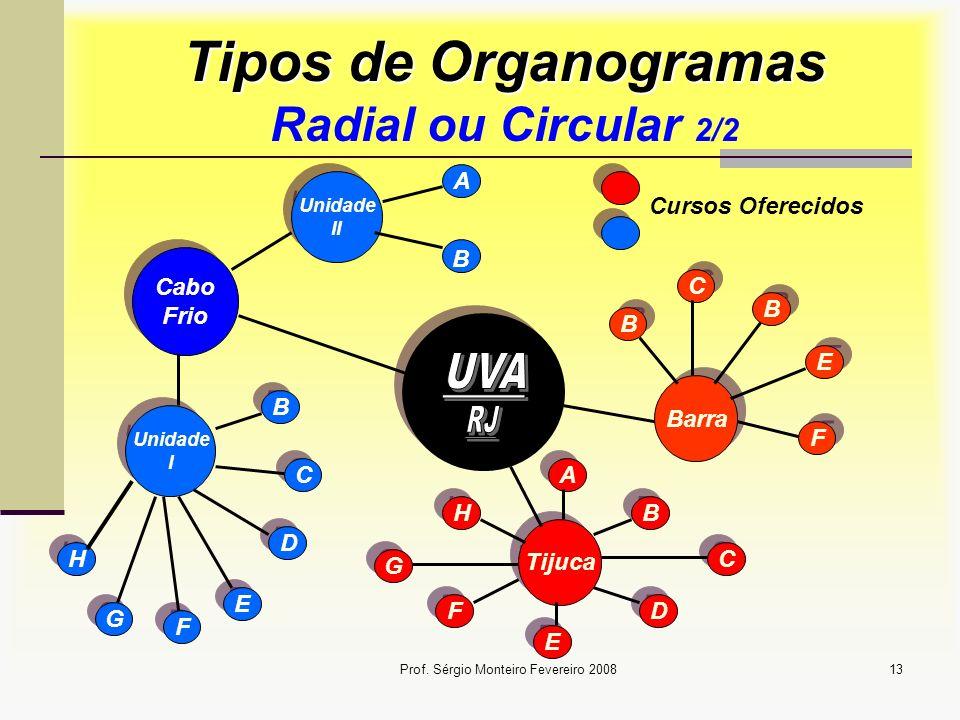 Prof. Sérgio Monteiro Fevereiro 200813 Tipos de Organogramas Tipos de Organogramas Radial ou Circular 2/2 Barra Tijuca C C B B D D E E F F B B A A C C