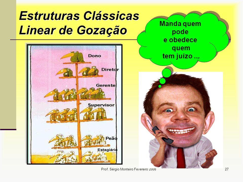 Prof. Sérgio Monteiro Fevereiro 200827 Estruturas Clássicas Linear de Gozação Manda quem pode e obedece quem tem juízo...
