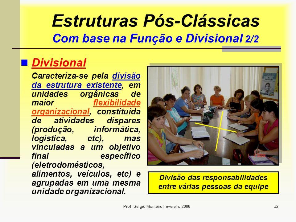 Prof. Sérgio Monteiro Fevereiro 200832 Estruturas Pós-Clássicas Com base na Função e Divisional 2/2 Divisional Caracteriza-se pela divisão da estrutur