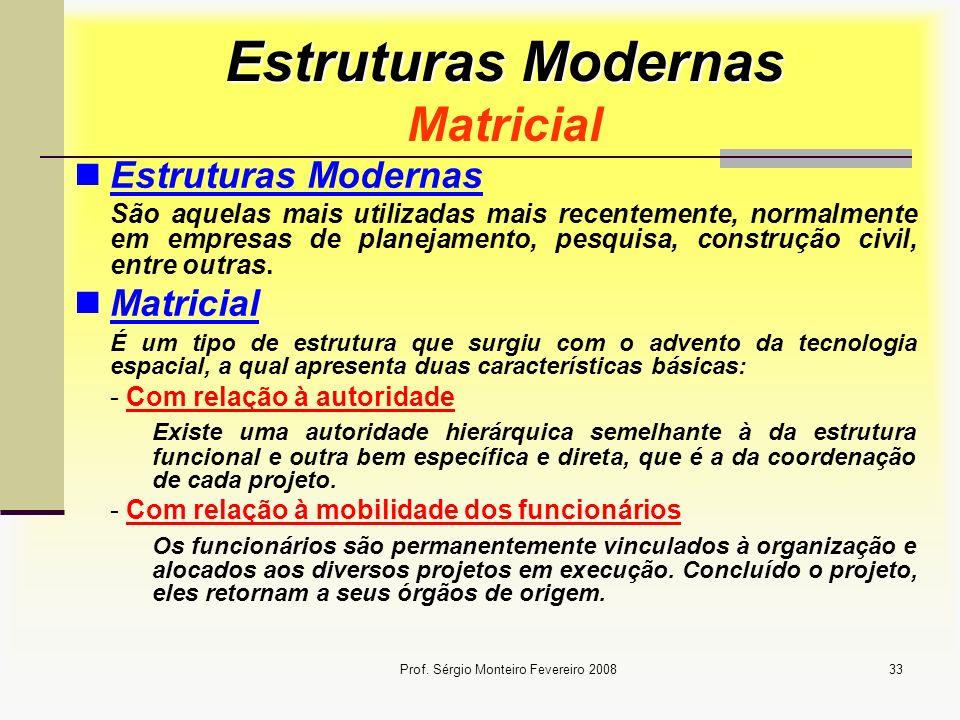 Prof. Sérgio Monteiro Fevereiro 200833 Estruturas Modernas Estruturas Modernas Matricial Estruturas Modernas São aquelas mais utilizadas mais recentem