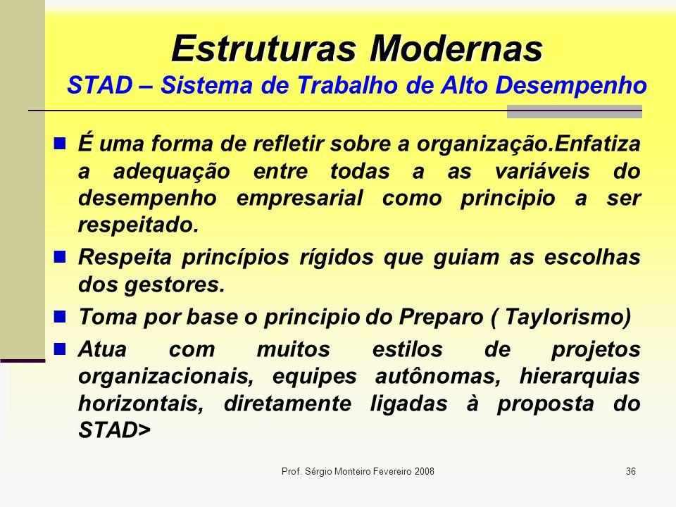 Prof. Sérgio Monteiro Fevereiro 200836 Estruturas Modernas Estruturas Modernas STAD – Sistema de Trabalho de Alto Desempenho É uma forma de refletir s