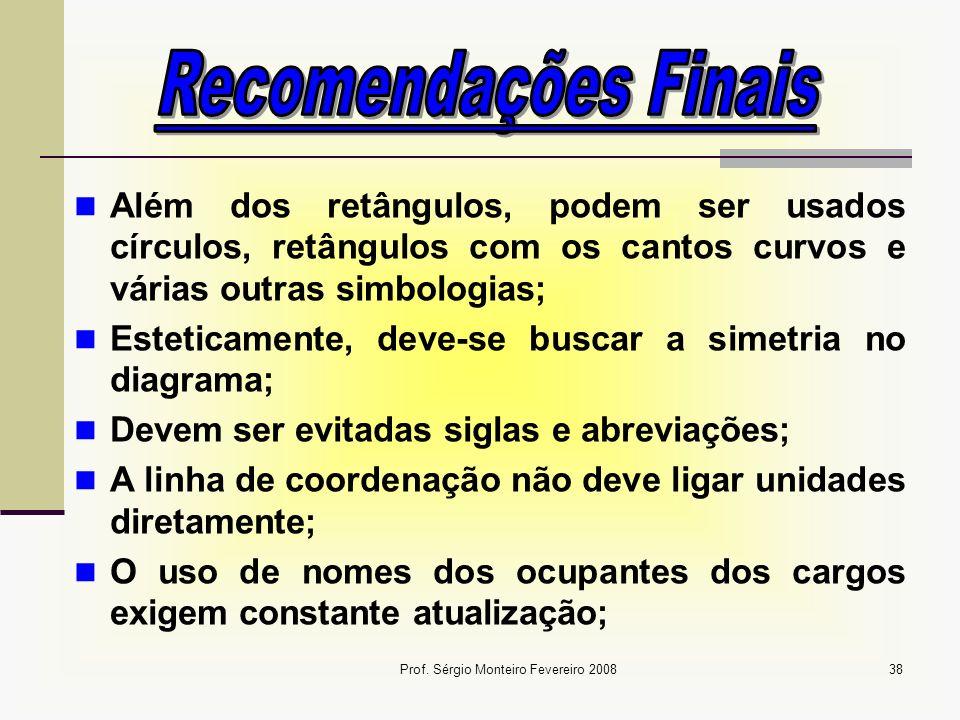 Prof. Sérgio Monteiro Fevereiro 200838 Além dos retângulos, podem ser usados círculos, retângulos com os cantos curvos e várias outras simbologias; Es