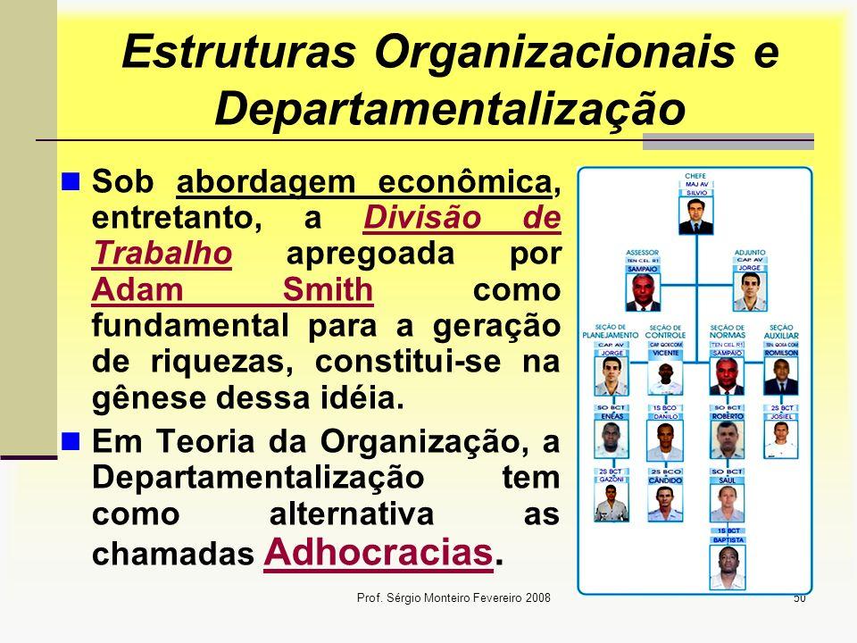 Prof. Sérgio Monteiro Fevereiro 200850 Estruturas Organizacionais e Departamentalização Sob abordagem econômica, entretanto, a Divisão de Trabalho apr