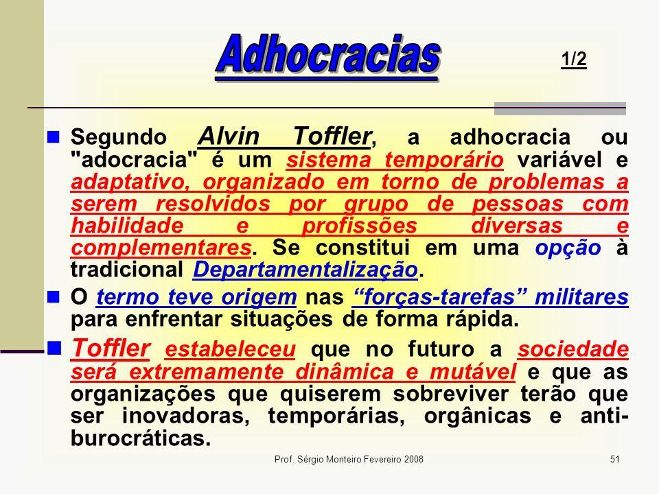 Prof. Sérgio Monteiro Fevereiro 200851 Segundo Alvin Toffler, a adhocracia ou