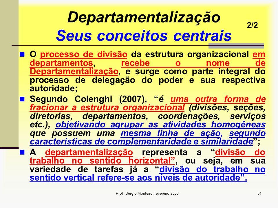 Prof. Sérgio Monteiro Fevereiro 200854 Departamentalização Seus conceitos centrais O processo de divisão da estrutura organizacional em departamentos,