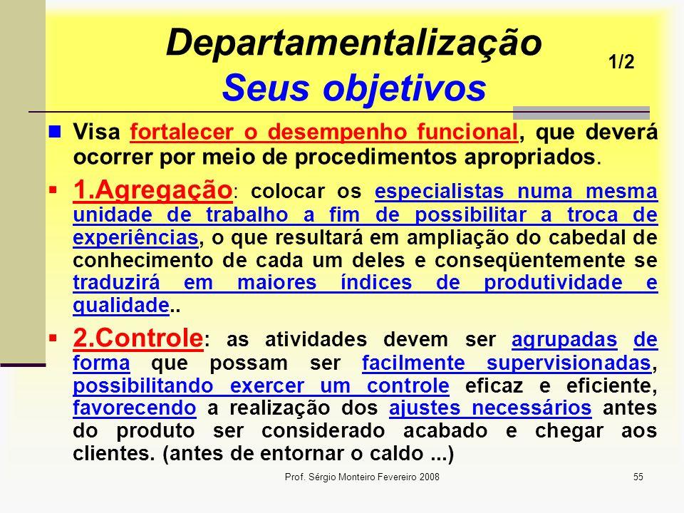 Prof. Sérgio Monteiro Fevereiro 200855 Departamentalização Seus objetivos Visa fortalecer o desempenho funcional, que deverá ocorrer por meio de proce