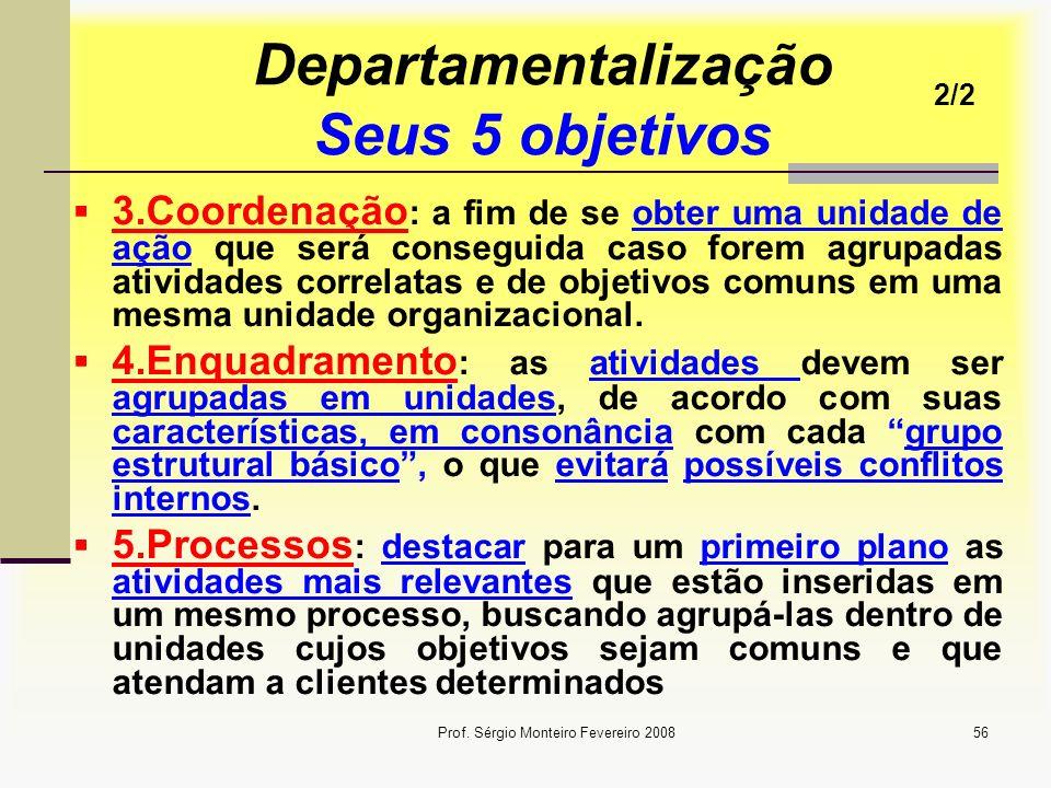 Prof. Sérgio Monteiro Fevereiro 200856 Departamentalização Seus 5 objetivos 3.Coordenação : a fim de se obter uma unidade de ação que será conseguida