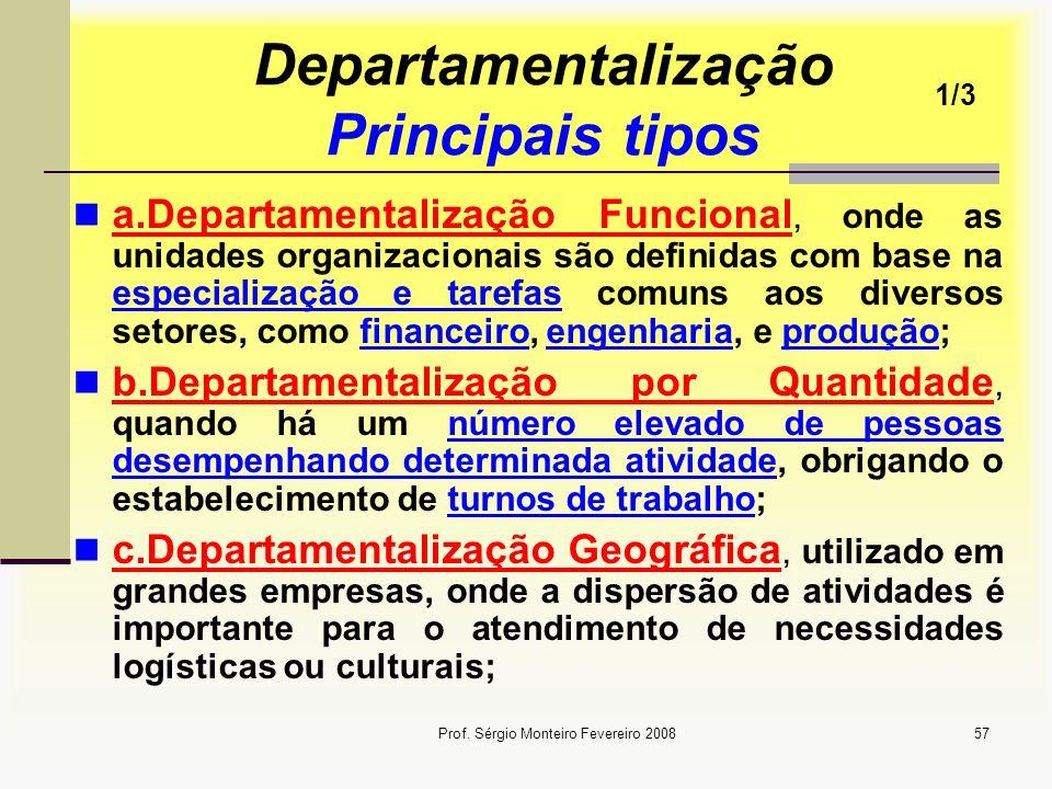 Prof. Sérgio Monteiro Fevereiro 200857 Departamentalização Principais tipos a.Departamentalização Funcional, onde as unidades organizacionais são defi