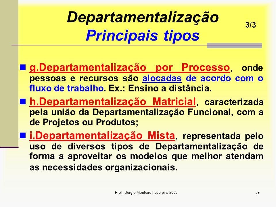Prof. Sérgio Monteiro Fevereiro 200859 Departamentalização Principais tipos g.Departamentalização por Processo, onde pessoas e recursos são alocadas d