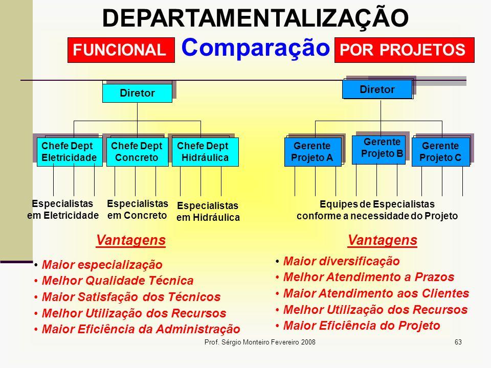 Prof. Sérgio Monteiro Fevereiro 200863 Diretor Chefe Dept Eletricidade Chefe Dept Eletricidade FUNCIONAL Diretor POR PROJETOS Chefe Dept Concreto Chef