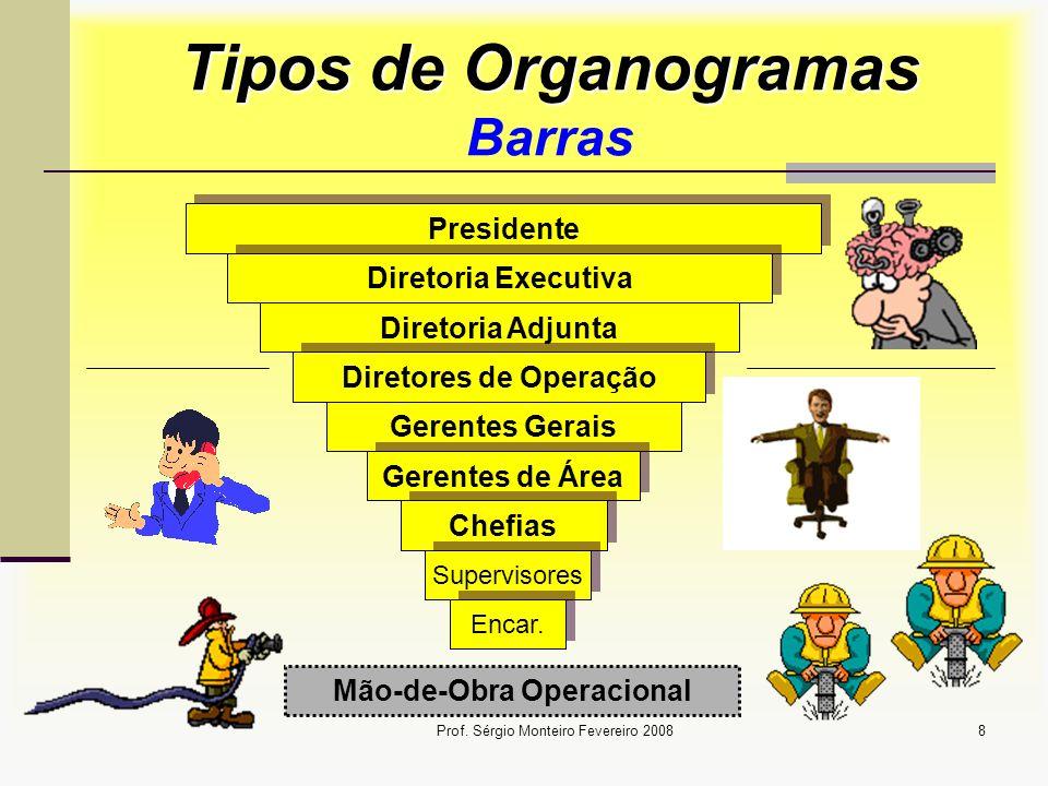 Prof. Sérgio Monteiro Fevereiro 20088 Tipos de Organogramas Tipos de Organogramas Barras Presidente Diretoria Executiva Diretoria Adjunta Diretores de