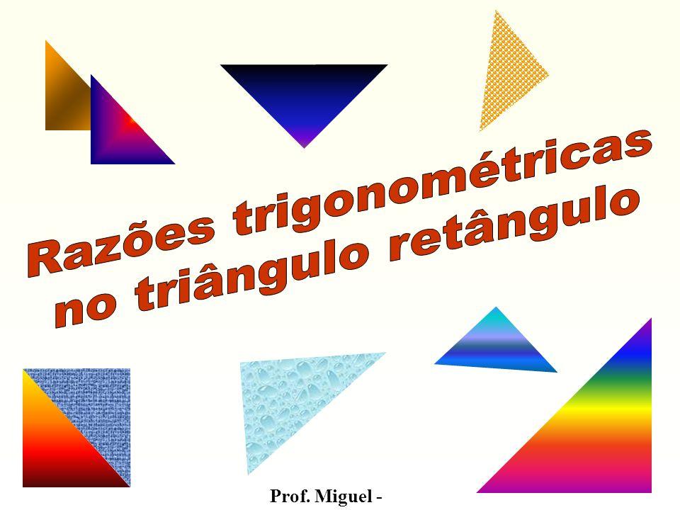 Aplicações: 1) Calcular x e y no triângulo retângulo abaixo: a) x Cateto oposto ao ângulo de 30º 10 hipotenusa y Cateto adjacente ao ângulo de 30º B C A y x 10 30º