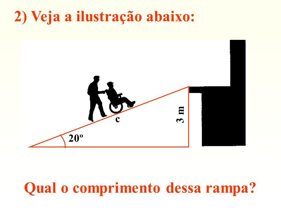 2) Veja a ilustração abaixo: Qual o comprimento dessa rampa? 20º c 3 m