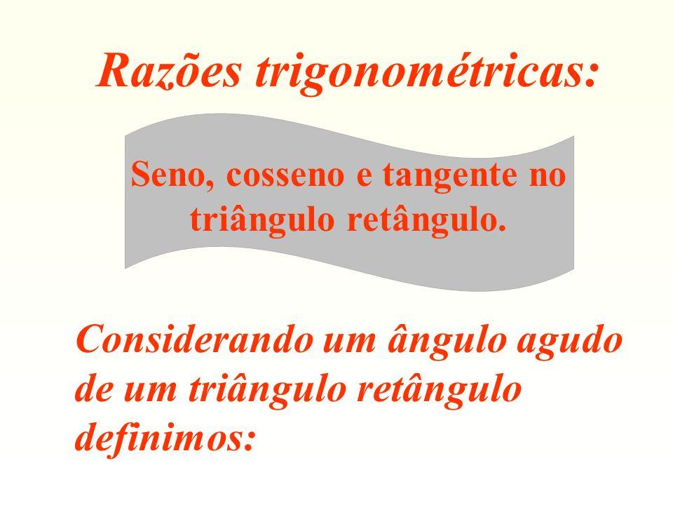 Razões trigonométricas: Seno, cosseno e tangente no triângulo retângulo. Considerando um ângulo agudo de um triângulo retângulo definimos: