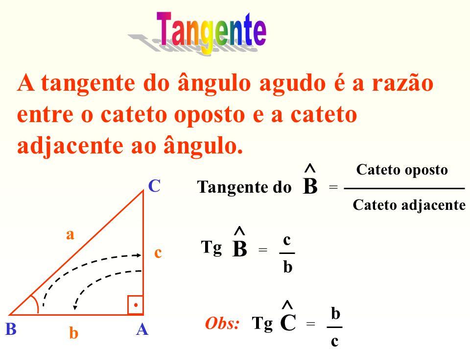 A tangente do ângulo agudo é a razão entre o cateto oposto e a cateto adjacente ao ângulo. Tangente do ^ B = Cateto oposto Cateto adjacente Tg ^ B = c