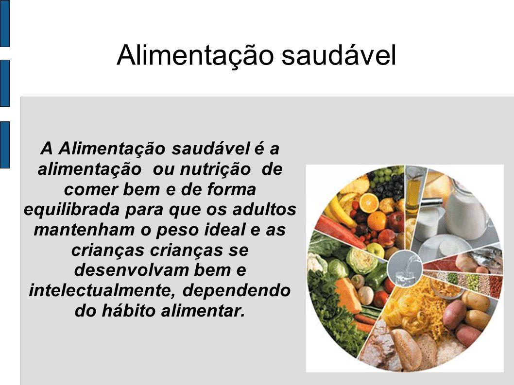 Alimentação saudável A Alimentação saudável é a alimentação ou nutrição de comer bem e de forma equilibrada para que os adultos mantenham o peso ideal