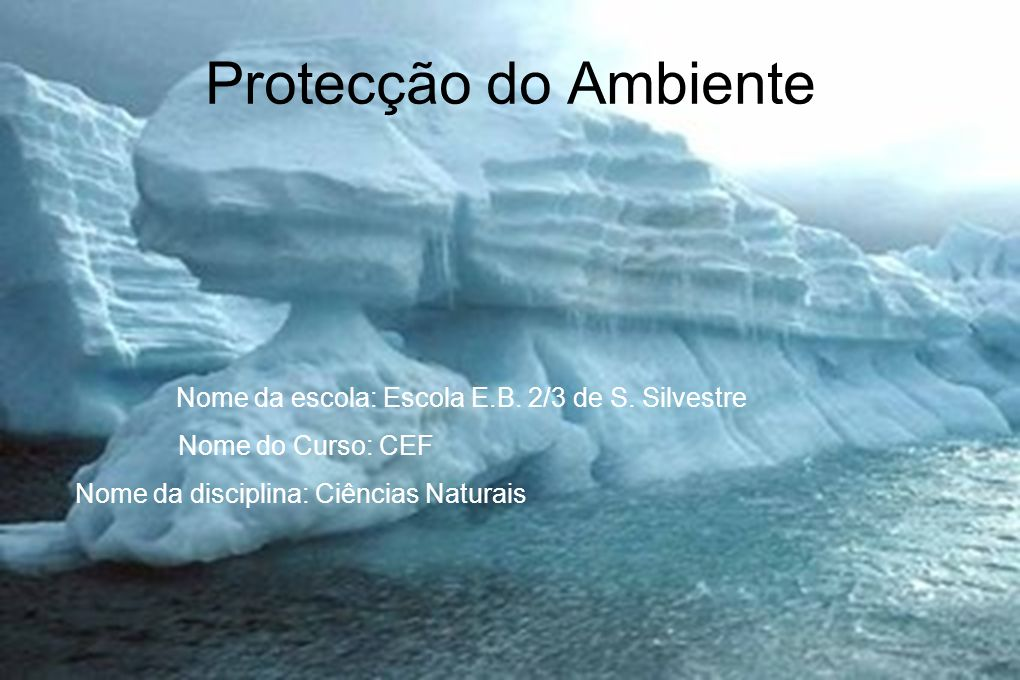 Protecção do Ambiente Nome da escola: Escola E.B. 2/3 de S. Silvestre Nome do Curso: CEF Nome da disciplina: Ciências Naturais André Mira 24/09/2009