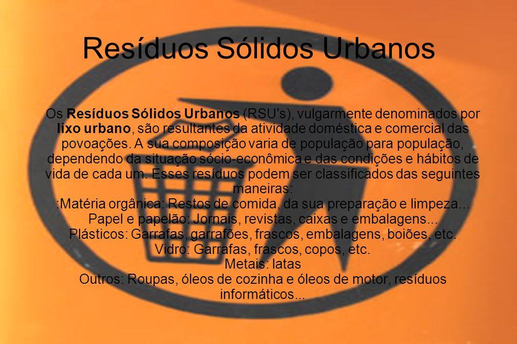 Resíduos Sólidos Urbanos Os Resíduos Sólidos Urbanos (RSU's), vulgarmente denominados por lixo urbano, são resultantes da atividade doméstica e comerc