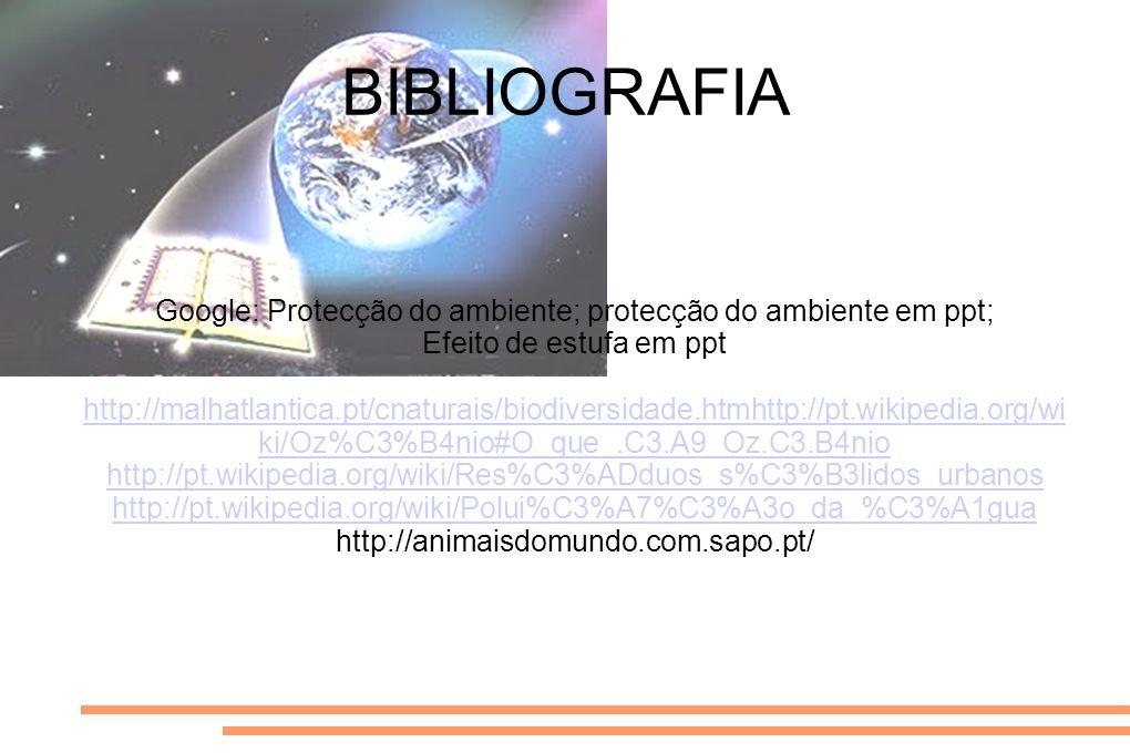 BIBLIOGRAFIA Google: Protecção do ambiente; protecção do ambiente em ppt; Efeito de estufa em ppt http://malhatlantica.pt/cnaturais/biodiversidade.htm