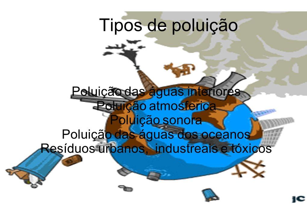 Tipos de poluição Poluição das águas interiores Poluição atmosferica Poluição sonora Poluição das águas dos oceanos Resíduos urbanos, industreais e tó