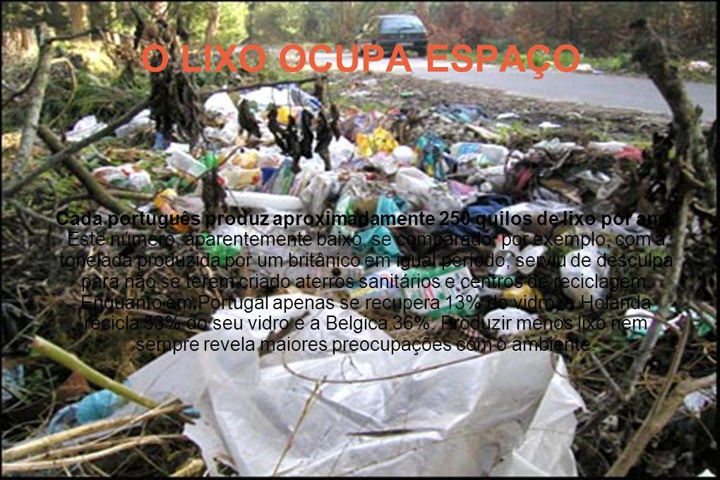 O LIXO OCUPA ESPAÇO Cada português produz aproximadamente 250 quilos de lixo por ano. Este número, aparentemente baixo, se comparado, por exemplo, com