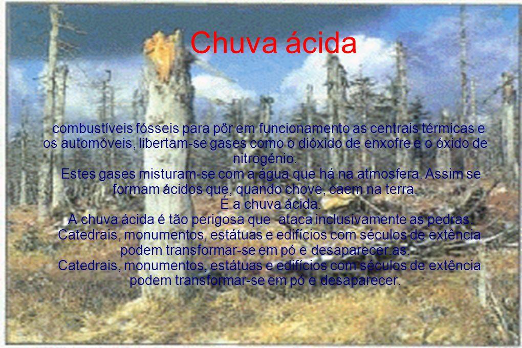 Chuva ácida combustíveis fósseis para pôr em funcionamento as centrais térmicas e os automóveis, libertam-se gases como o dióxido de enxofre e o óxido