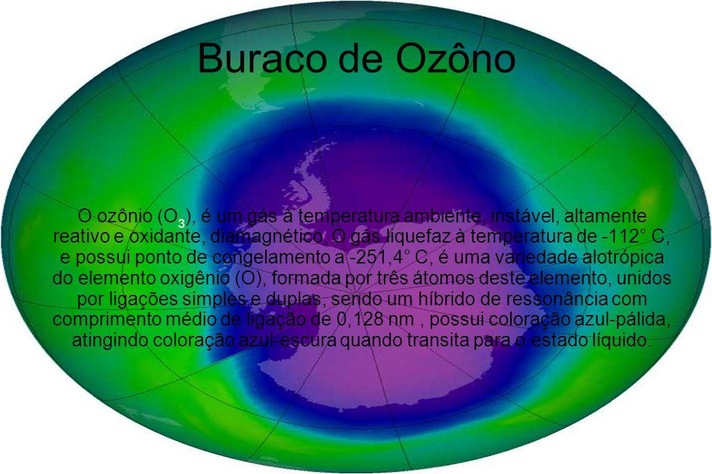 Buraco de Ozôno O ozônio (O 3 ), é um gás à temperatura ambiente, instável, altamente reativo e oxidante, diamagnético, O gás liquefaz à temperatura d