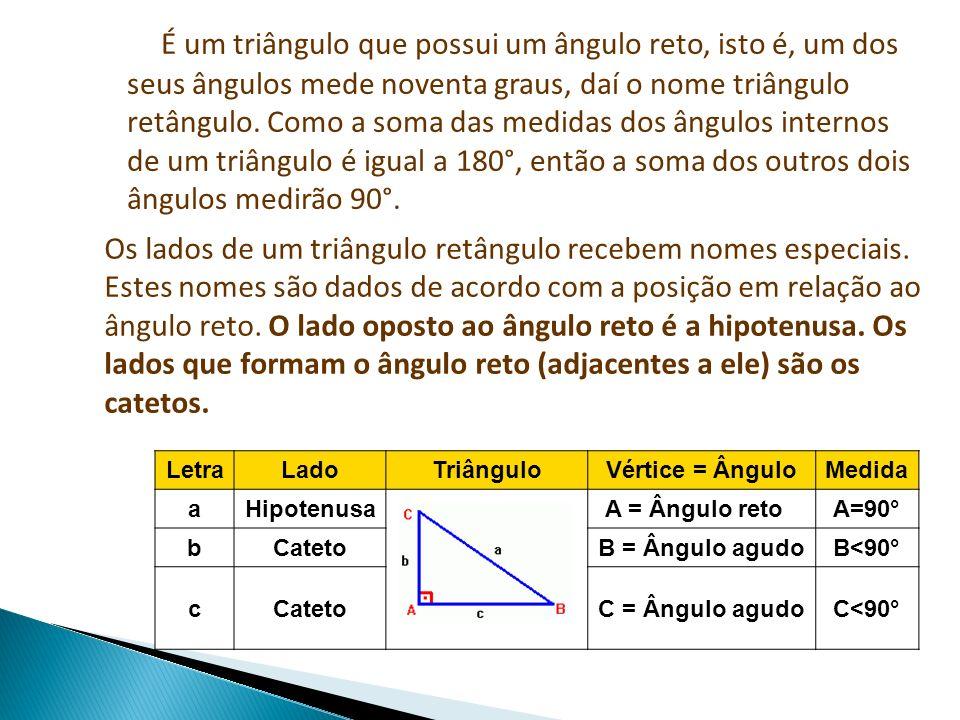 É um triângulo que possui um ângulo reto, isto é, um dos seus ângulos mede noventa graus, daí o nome triângulo retângulo. Como a soma das medidas dos