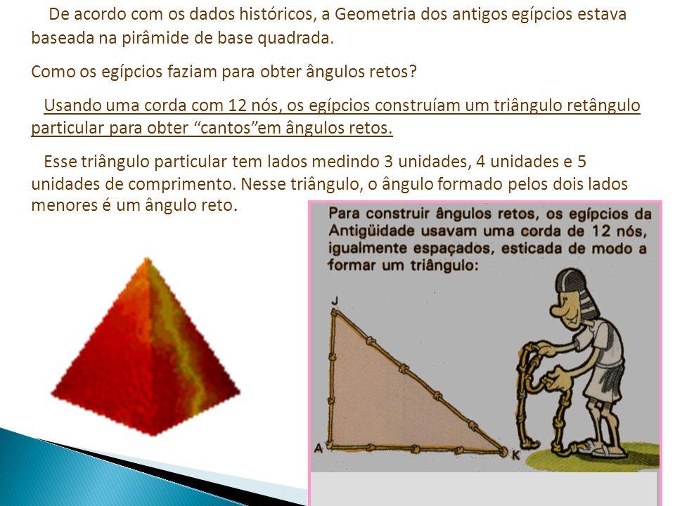 De acordo com os dados históricos, a Geometria dos antigos egípcios estava baseada na pirâmide de base quadrada. Como os egípcios faziam para obter ân