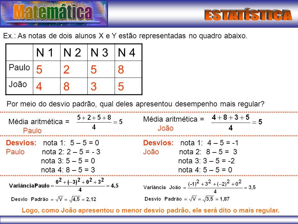 Ex.: As notas de dois alunos X e Y estão representadas no quadro abaixo. N 1N 2N 3N 4 Paulo 5258 João 4835 Por meio do desvio padrão, qual deles apres