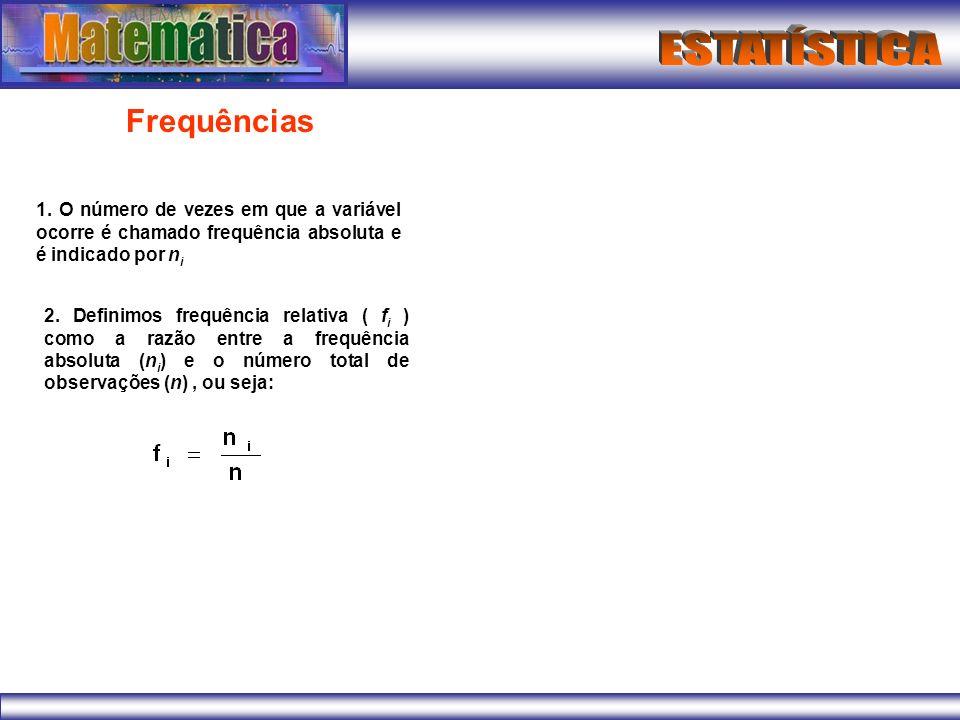 Frequências 1. O número de vezes em que a variável ocorre é chamado frequência absoluta e é indicado por n i 2. Definimos frequência relativa ( f i )