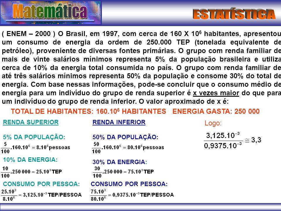 ( ENEM – 2000 ) O Brasil, em 1997, com cerca de 160 X 10 6 habitantes, apresentou um consumo de energia da ordem de 250.000 TEP (tonelada equivalente
