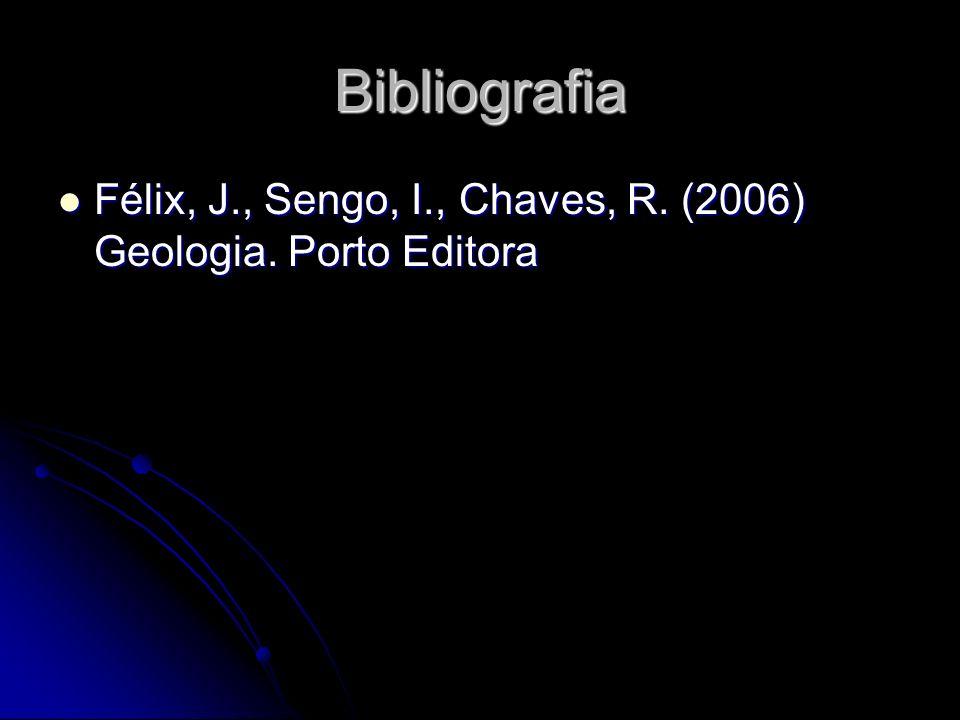 Bibliografia Félix, J., Sengo, I., Chaves, R. (2006) Geologia. Porto Editora Félix, J., Sengo, I., Chaves, R. (2006) Geologia. Porto Editora