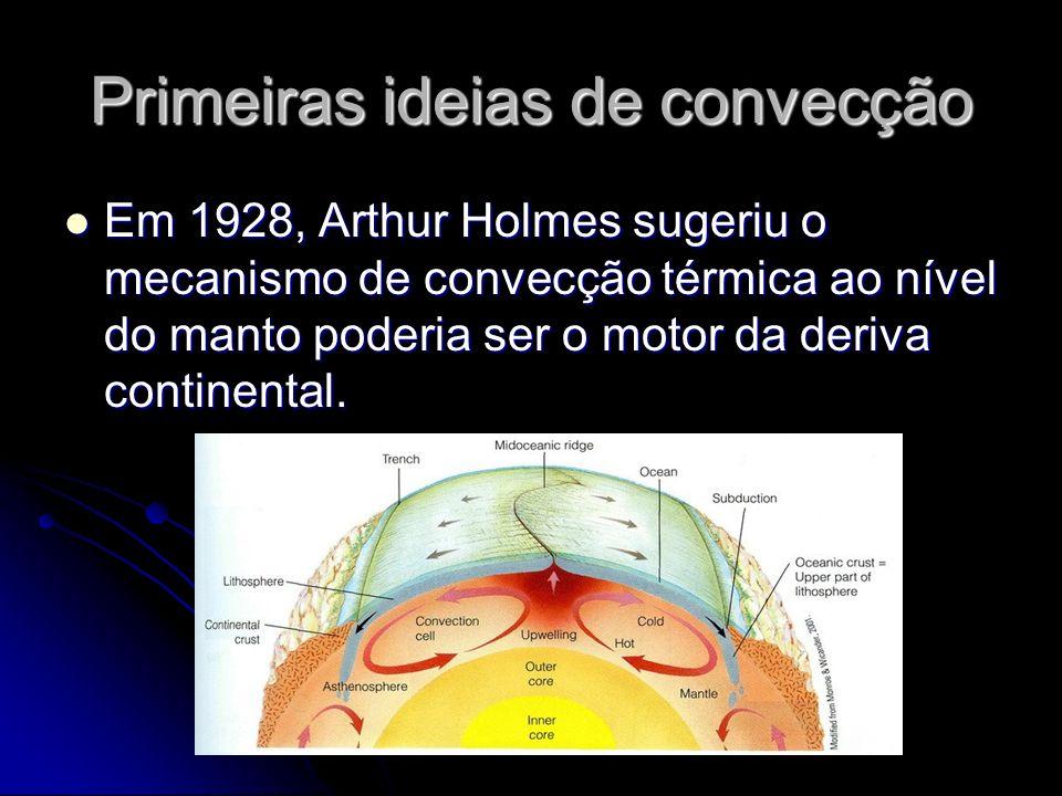 Primeiras ideias de convecção Em 1928, Arthur Holmes sugeriu o mecanismo de convecção térmica ao nível do manto poderia ser o motor da deriva continen