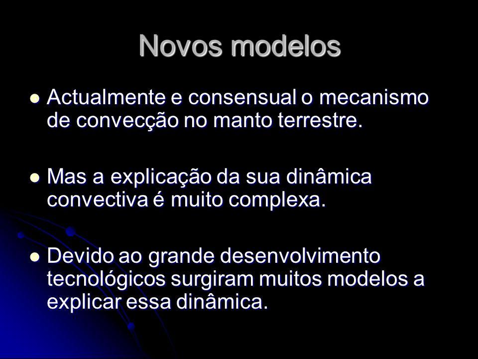 Novos modelos Actualmente e consensual o mecanismo de convecção no manto terrestre. Actualmente e consensual o mecanismo de convecção no manto terrest