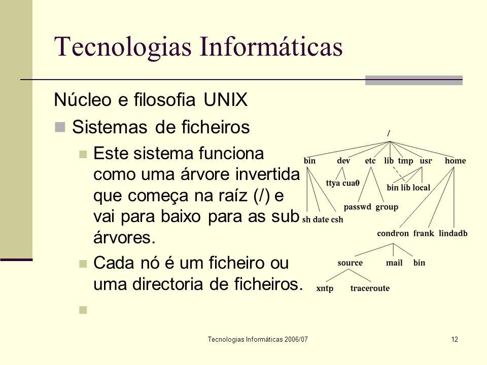Tecnologias Informáticas 2006/0712 Tecnologias Informáticas Núcleo e filosofia UNIX Sistemas de ficheiros Este sistema funciona como uma árvore invertida que começa na raíz (/) e vai para baixo para as sub árvores.