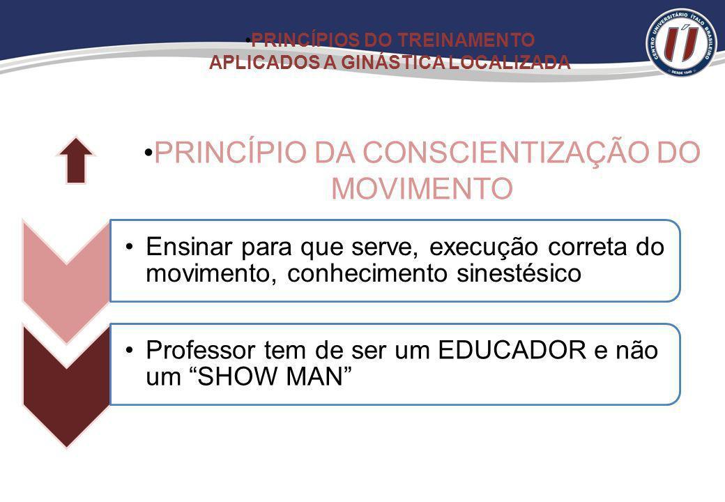 Ñ permitir o aluno deixar a aula de GL Criar o princípio da prática da atividade crônica PRINCÍPIO DA CONTINUIDADE PRINCÍPIOS DO TREINAMENTO APLICADOS