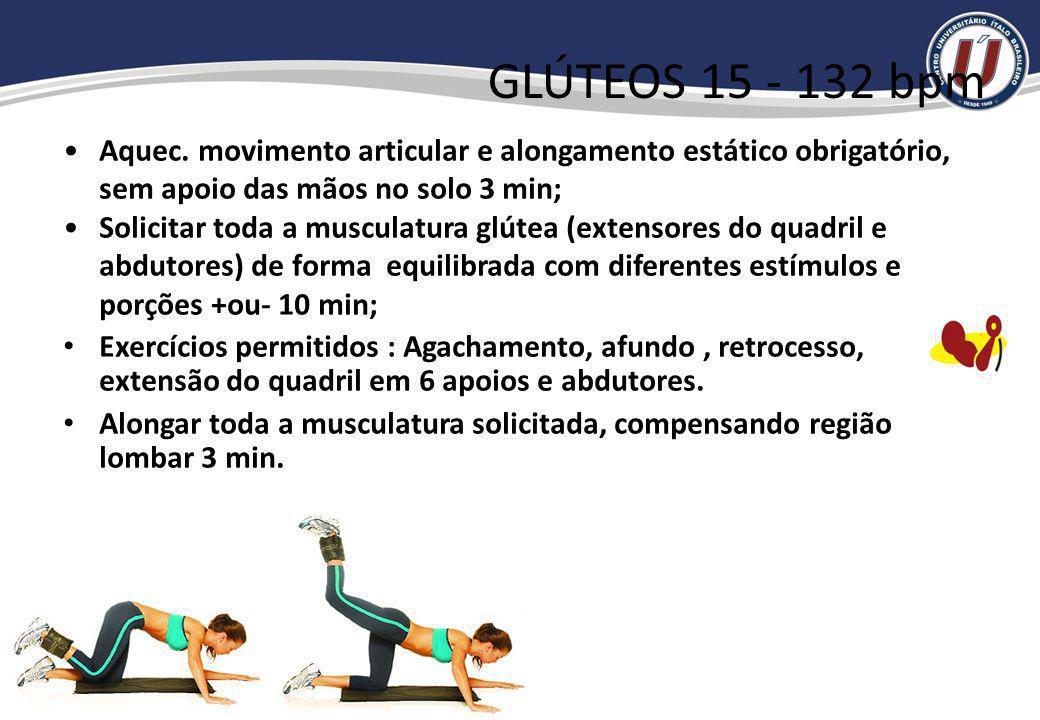 Contra indicados Infra-umbilical movimentos em que os joelhos ultrapassem a linha do quadril no retorno; Infra-umbilical com as pernas cruzadas; Sobre