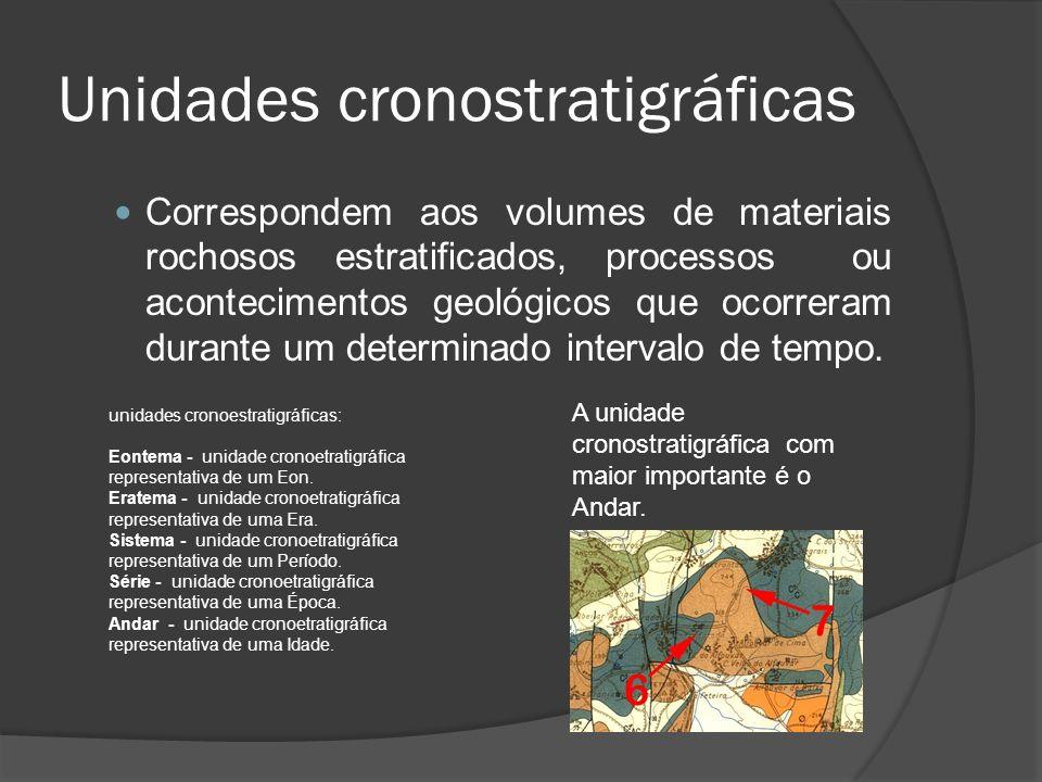 Unidades cronostratigráficas Correspondem aos volumes de materiais rochosos estratificados, processos ou acontecimentos geológicos que ocorreram duran