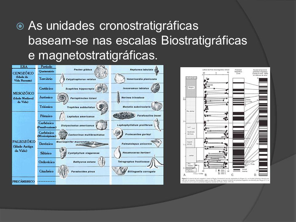 As unidades cronostratigráficas baseam-se nas escalas Biostratigráficas e magnetostratigráficas.