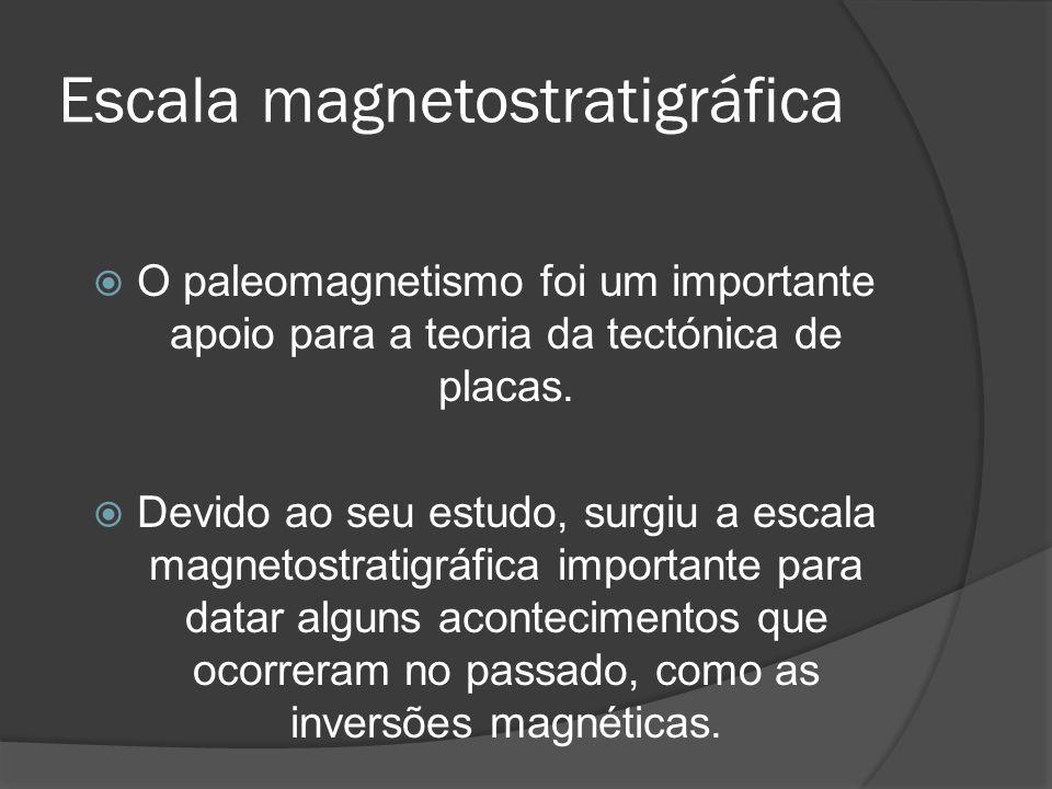 Escala magnetostratigráfica O paleomagnetismo foi um importante apoio para a teoria da tectónica de placas. Devido ao seu estudo, surgiu a escala magn