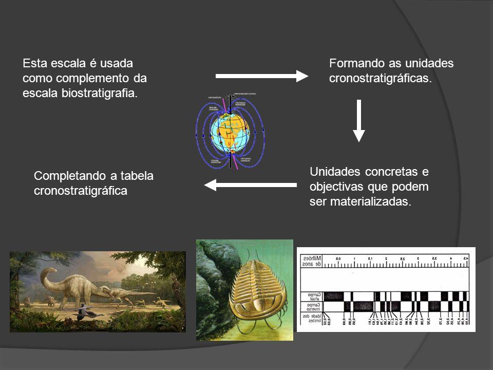 Esta escala é usada como complemento da escala biostratigrafia. Formando as unidades cronostratigráficas. Completando a tabela cronostratigráfica Unid