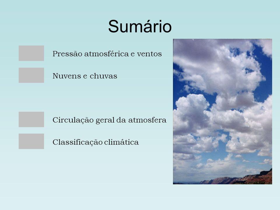 Sumário Pressão atmosférica e ventos Nuvens e chuvas Circulação geral da atmosfera Classificação climática