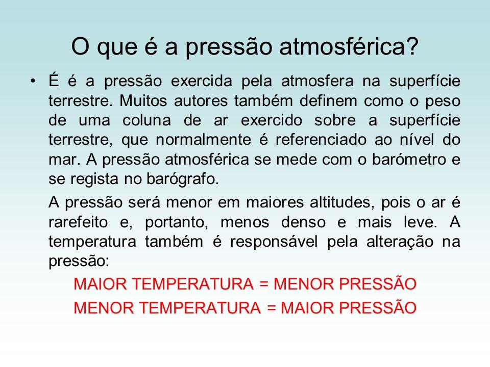 O que é a pressão atmosférica? É é a pressão exercida pela atmosfera na superfície terrestre. Muitos autores também definem como o peso de uma coluna