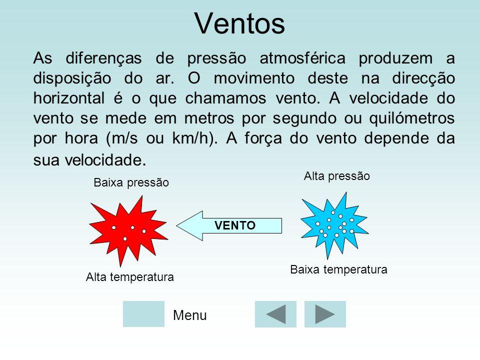 Ventos As diferenças de pressão atmosférica produzem a disposição do ar. O movimento deste na direcção horizontal é o que chamamos vento. A velocidade