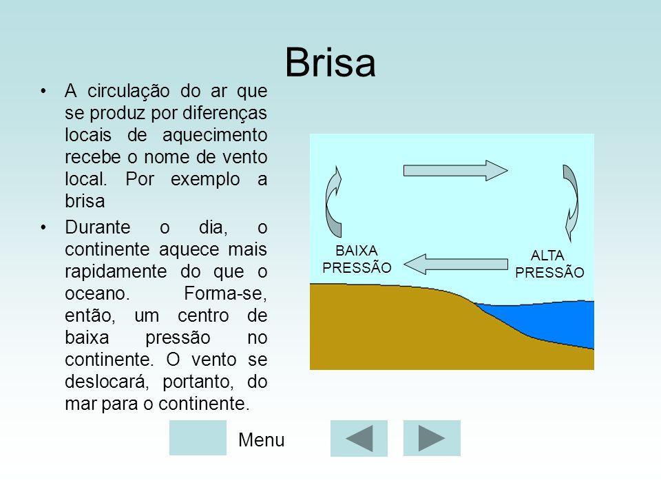 Brisa A circulação do ar que se produz por diferenças locais de aquecimento recebe o nome de vento local. Por exemplo a brisa Durante o dia, o contine