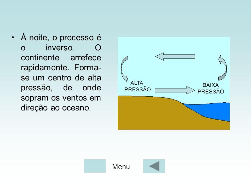 À noite, o processo é o inverso. O continente arrefece rapidamente. Forma- se um centro de alta pressão, de onde sopram os ventos em direção ao oceano